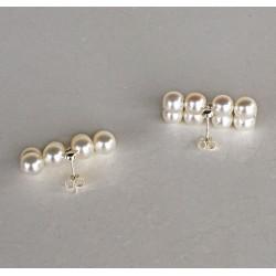 Moderne, elegante Perlenohrstecker Metis, Süsswasserperlen und Silber.