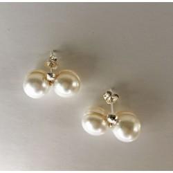 Dione 9mm Doppel-Perlenohrstecker aus Süsswasserperlen und Silber