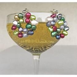 Kybele Perlenohrstecker, bunt Süsswasserperlen und Silber