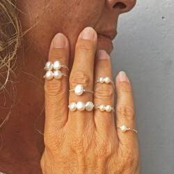 LETO feine Fingerkettchen mit echten Perlen, Silber