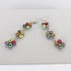 Eudora Perlenohrringe bunt aus bunt gefärbten Süsswasserperlen und Silber