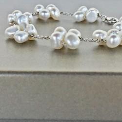 Eudora Perlenarmband weiss aus Süsswasserperlen und Silber