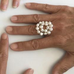 Kybele Fingerkettchen mit vielen Perlen weiss, Süsswasserperlen und Silber