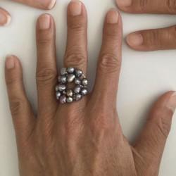 Kybele grau Fingerkettchen  mit Perlen