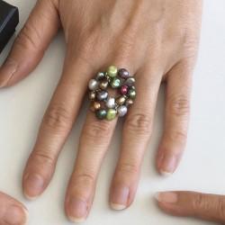 Kybele Fingerkettchen bunt, Süsswasserperlen und Silber