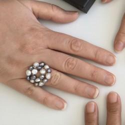 Kybele Fingerkettchen grau-weiss, Süsswasserperlen und Silber
