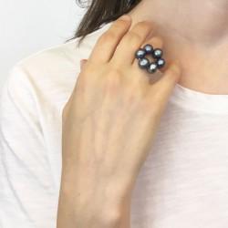 Halia Fingerkettchen aus ca. 9mm Perlen grau-blau