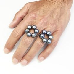Zweimal Halia Fingerkettchen aus ca. 9mm Perlen grau-blau