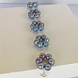 Halia Perlenarmband grau aus Süsswasserperlen und Silber